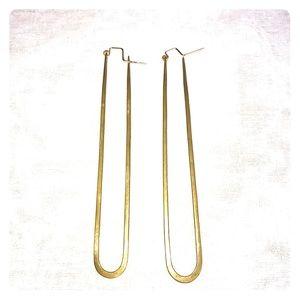 Lila Rice Long Brass Earrings